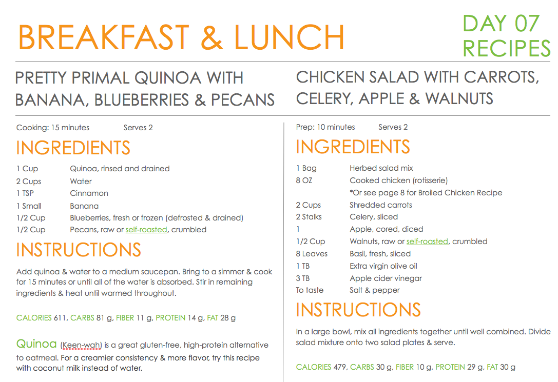 View a sample of the CNK Quick & Easy Meal Plan!