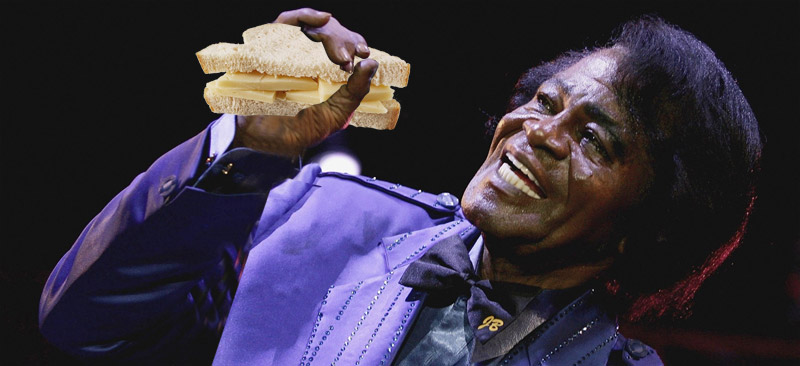 James Brown eating a Cheese Sandwich