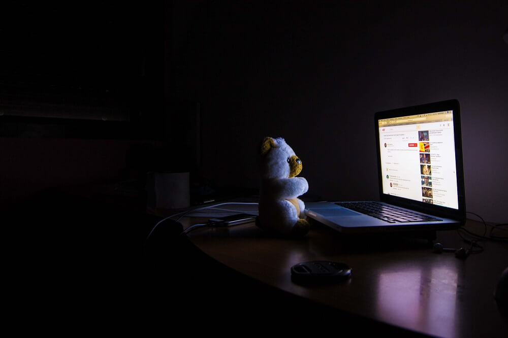 teddy bear by a laptop at night