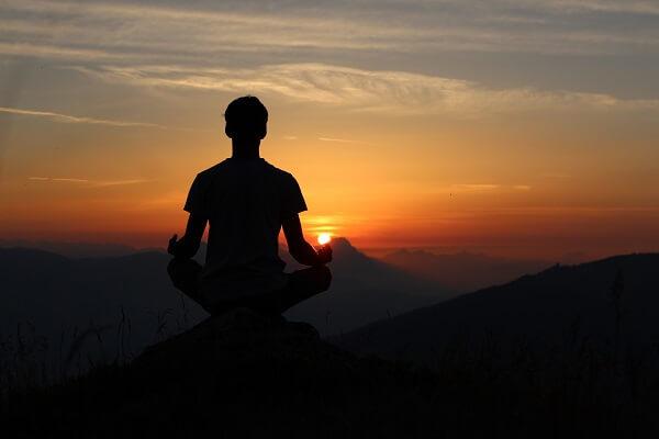 meditation during a sunset