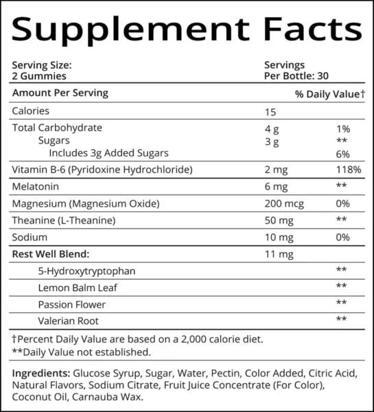 sugarbear sleep vitamins ingredients