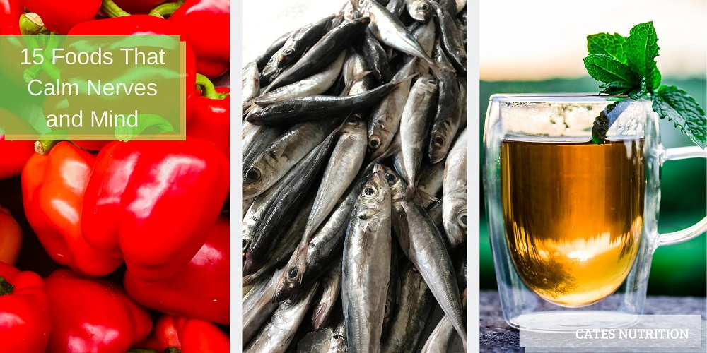 foods that calm nerves and mind - bell peppers, sardines, and chamomile tea