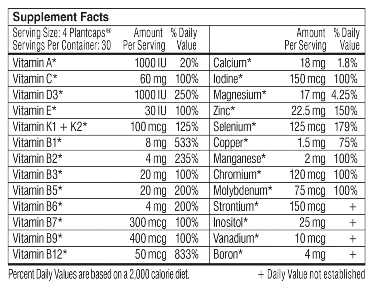 performance lab whole food multi ingredients