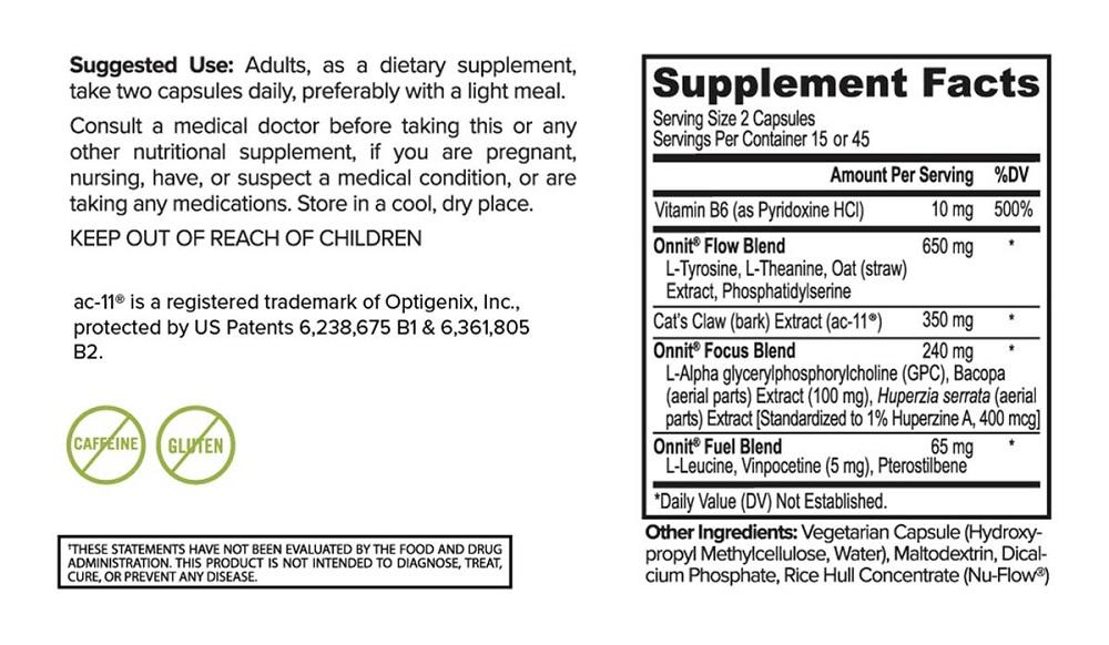 alpha brain ingredient label