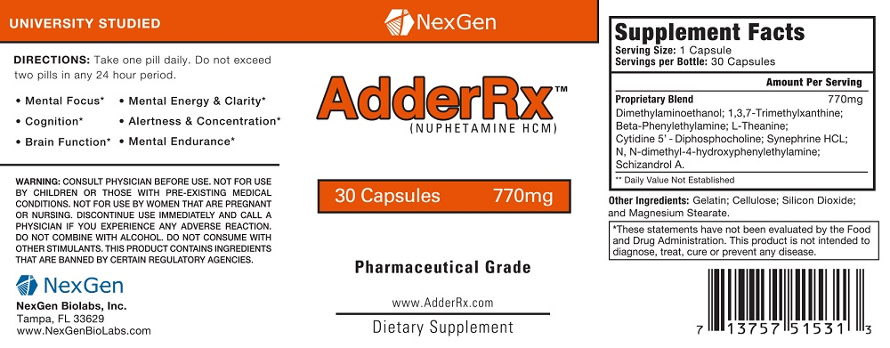 adderrx review ingredients label facts
