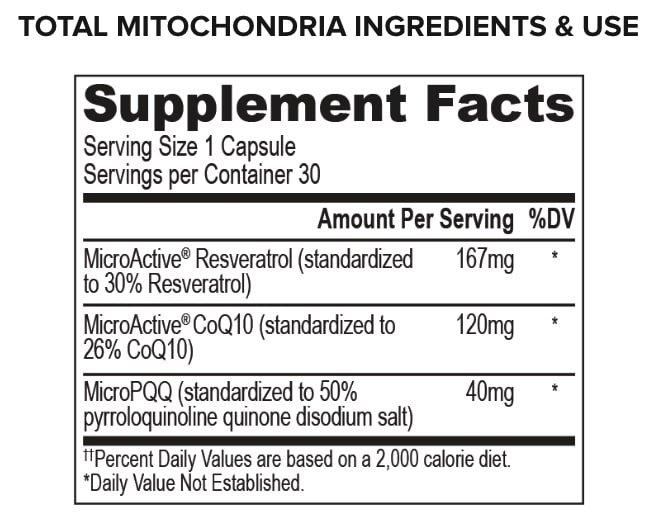 onnit total mitochondria ingredients label